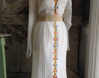 On sale 1970s ethnic dress 70s gauze dress size medium Vintage dress festival dress