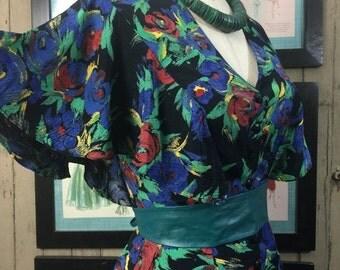 On sale 1980s ruffled dress 80s floral dress size small medium Vintage tiered dress Barbara Barbara