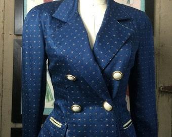 Fall sale 1990s jacket fitted jacket blue blazer dress jacket size medium vintage jacket double breasted jacket platinum jacket
