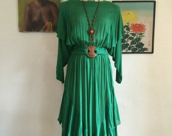 Fall sale 1980s dress green dress blouson dress size medium bohemian dress rayon dress stevie nicks dress