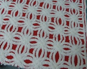 Hoffman Rare Red White Hoffman Chenille Bedspread  Fabbric Vintage Red Hofmann