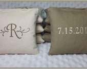 Rustic Wedding Personalized Set of 8 Cream and Tan Cornhole Bags