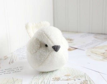 Kids Kawaii Plush Bird Off White Bird Stuffed Animal Childrens Handmade Plush Toy Bubbletime Fleece Bird White Plush Bird