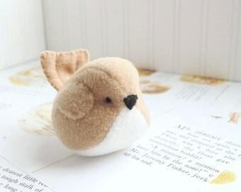 Tan Bird Stuffed Animal Fleece Bird Handmade Plush Bird