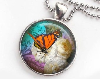 Monarch Butterfly Necklace, Butterfly Jewelry, Garden Jewels Pendant, Gift for her, Gift for Mom,