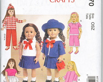 "McCalls 7370 Retro  Doll Clothes 18"" Jacket Hat Robe Sailor Suit Sewing Pattern New UNCUT"
