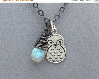 owl necklace, charm necklace, pendant necklace, labradorite gemstone necklace, briolette necklace, sterling silver necklace, aviary gift