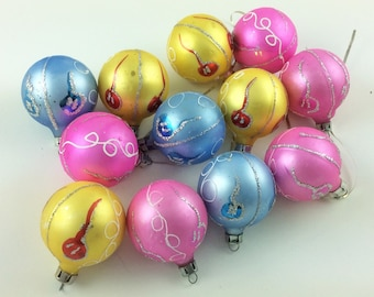 Bright Pastel Glass Ball Ornaments. Vintage Mercury Glass Christmas Ornaments. Bright Pink, Yellow, Blue with Glitter. Kitschy Retro Xm