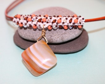 Diamond Shape Agate Pendant-Orange Leather Necklace