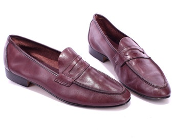 Driver Shoes 70s Vintage Leather Loafers Mens Slip On BURGUNDY Brown Moccasins Retro Penny Italian Loafers Us men 8, Eur 41, Uk 7.5