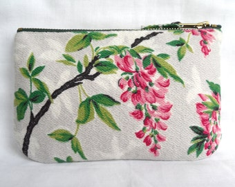 Pretty Wisteria Print Make Up Bag, Zip Purse, Pouch. Ipod and Earphones case. Pale Grey and Cerise