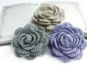 Crochet roses - 3 handmade crochet flowers in beige, gray and blue, scarpbooking flowers, wedding flowers, home decor, rose appliques