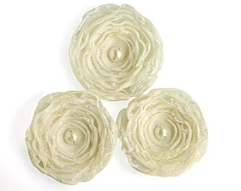 3 Handmade cream fabric flowers - silk flowers, wedding flowers, bouquet flowers, floral decorations, fake flowers, shabby chic flowers