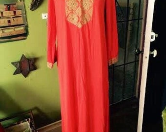 Amazing 1960's/1970's maxi boho/hippie dress womens size Small