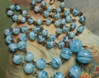 Vintage Necklace Blue Swirl Glass Beads Rosary Style Linked Chain