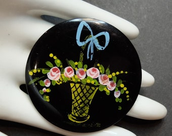 Vintage Celluloid Basket Pin Painted Flowers