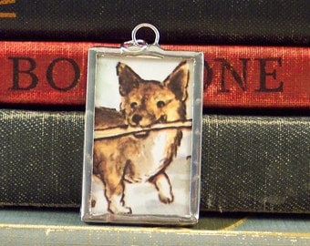 Tasha Tudor Corgi Pendant - Soldered Pendant w/ Vintage Tasha Tudor Book Illustration - Corgi Dog Pendant - Tasha Tudor Jewelry - Dog Charm