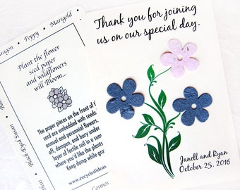 40 Plantable Flower Seed Wedding Invitations - Navy Blush Pink Wedding - Daisies Marigolds and more - Custom Seed Paper Wedding Party Cards