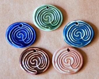 5 Labyrinth Ceramic Beads - Handmade Stoneware Labyrinths - Stoneware Celtic Pendants for fairs and festivals - Handmade Jewelry Supplies
