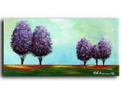 "6 x 12 "" Original Painting Purple Horizon #1 TreesLandscape Modern Contemporary Abstract Acrylic Canvas Elena"