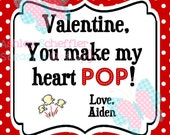 Valentine's Day Tag. Make my heart pop. Popcorn.  Class Valentines. Printable Tag. PDF File.Personalized.Square Tag. Red
