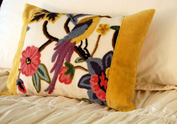 Ellora Bird Cushion / modern lumbar pillow / fall home decor