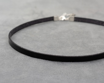 Leather collar, Black Leather choker, Thin leather choker, Day collar, Simple Choker necklace, Chocker, Minimalist jewelry