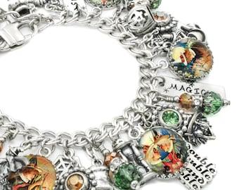 Halloween Jewelry, Halloween Charms, Charm Bracelet, Silver Bracelet, Women's Halloween Jewelry