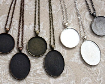 71 New Assorted Round 30mm & Oval 30mm x 40mm Blank Cabochon Pendant Trays w Matching Chains Bezel Setting DIY Art or Photo Necklace Destash