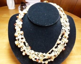 Autumn Splendor Necklace - a Handmade Bead Crochet Necklace with Gemstone Beads, FW Pearls, Shell Beads