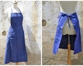 Vintage French 1930/1950  bleu de travail blue chore cotton chambray workwear gardening apron