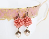 Sale - Coral Wedding Earrings, Wedding Jewelry, Victorian style Earrings, Pearl Bead, Flower Earrings, Gift For Woman, Valentines Gift