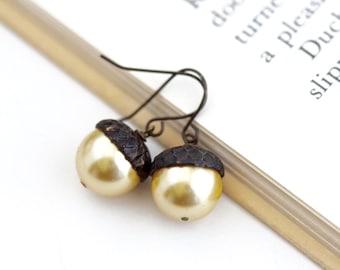 Dangle Earrings - Acorn Earrings - Gold Pearl - Dark Antiqued Brass Dangle Earrings - Woodland Jewelry - Rustic - Autumn - Acorn Jewelry