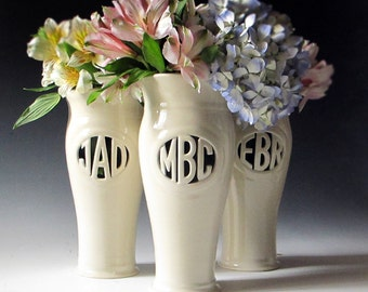 Personalized Anniversary Gift,  Mother of the Bride or Bridesmaid Gift - Handmade Monogram Vase