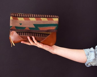 Fold-Over Clutch - Brown/Green