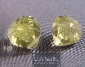 HOT SALE - Natural Lemon Quartz Beads, Yellow Gemstone Briolettes, AAA Quality Concave Cut Matched Pair, Two (2) Gorgeous 10mm Stones (Pt-Lq