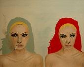 Ingénue - mode reproduction de peinture de Portrait acrylique originale par Leigh Viner / / édition limitée