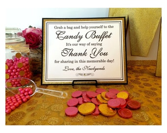 8x10 Flat Wedding Candy Buffet Sign in Black and Cream and Glittery Gold - READY TO SHIP
