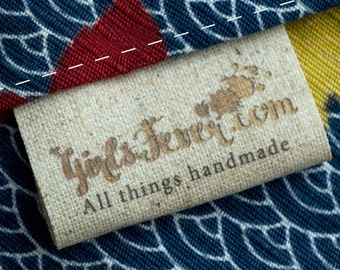 Personalized sew in JUTE labels vintage look clothing labels PRE-CUT 100 pcs