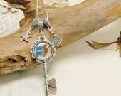 20% OFF Mermaid Charm Necklace Key Charm Sea Shell Charm Star Fish Charm Siren of the Sea Key Necklace Mermaid Pendant
