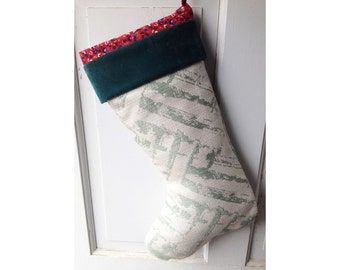 Teal Garden Christmas Stocking - Floral Lattice Heirloom Holiday Decor Ready to Ship