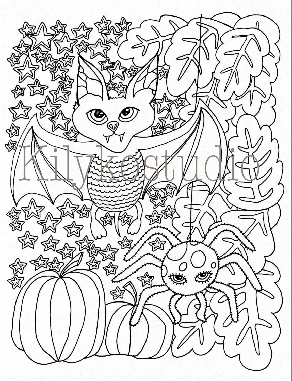Halloween Bat Spider pumpkins fall leaves adult coloring ...