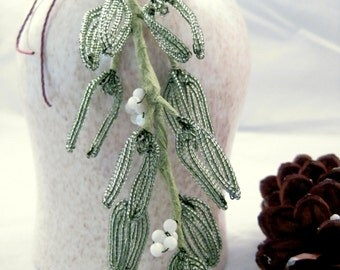 Sage green handmade beaded mistletoe, hanging holiday kissing sprig