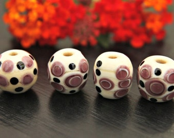 Set of Four Handmade Glass Beads Barrel Shapes in Ivory and Lavender with Black