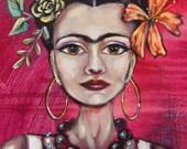 Frida Kahlo PRINT, Badass Frida, Day of the Dead, Sugar Skull Tequila, Diego Rivera tattoo, viva mexico belt buckle,