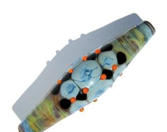 Handmade Lampwork Glass Focal Bead Bicone blue orange striking glass
