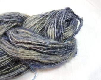 Hand Spun Mohair with Halo Brushed Single Yarn Sport Weight Blue 16-8-26