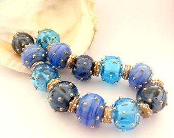 12 Hollow Handmade Lampwork Beads & 13 Spacers