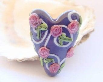 Purple Heart Handmade Lampwork Bead