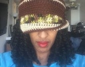 Funky Fall Cloche - Ready to Wear - Brown, Beige and Bright Green Camo